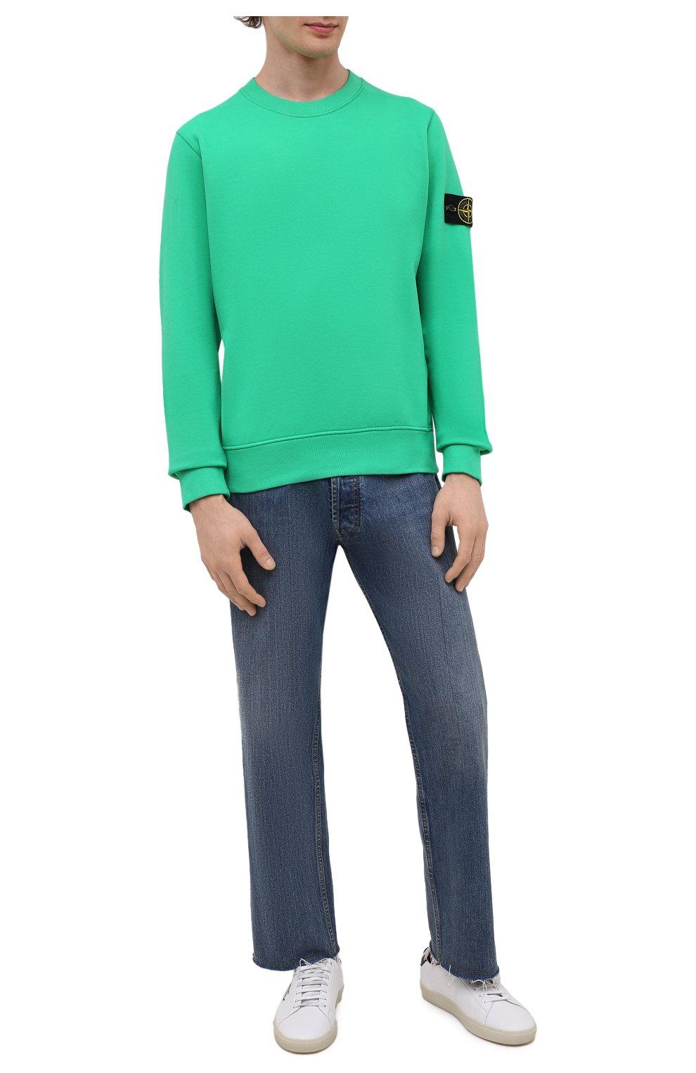 Мужской хлопковый свитшот STONE ISLAND зеленого цвета, арт. 751563020   Фото 2 (Рукава: Длинные; Принт: Без принта; Длина (для топов): Стандартные; Стили: Гранж; Мужское Кросс-КТ: свитшот-одежда; Материал внешний: Хлопок)
