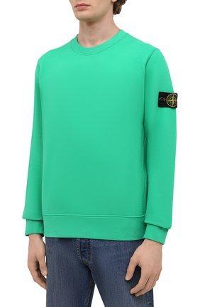 Мужской хлопковый свитшот STONE ISLAND зеленого цвета, арт. 751563020   Фото 3 (Рукава: Длинные; Принт: Без принта; Длина (для топов): Стандартные; Стили: Гранж; Мужское Кросс-КТ: свитшот-одежда; Материал внешний: Хлопок)