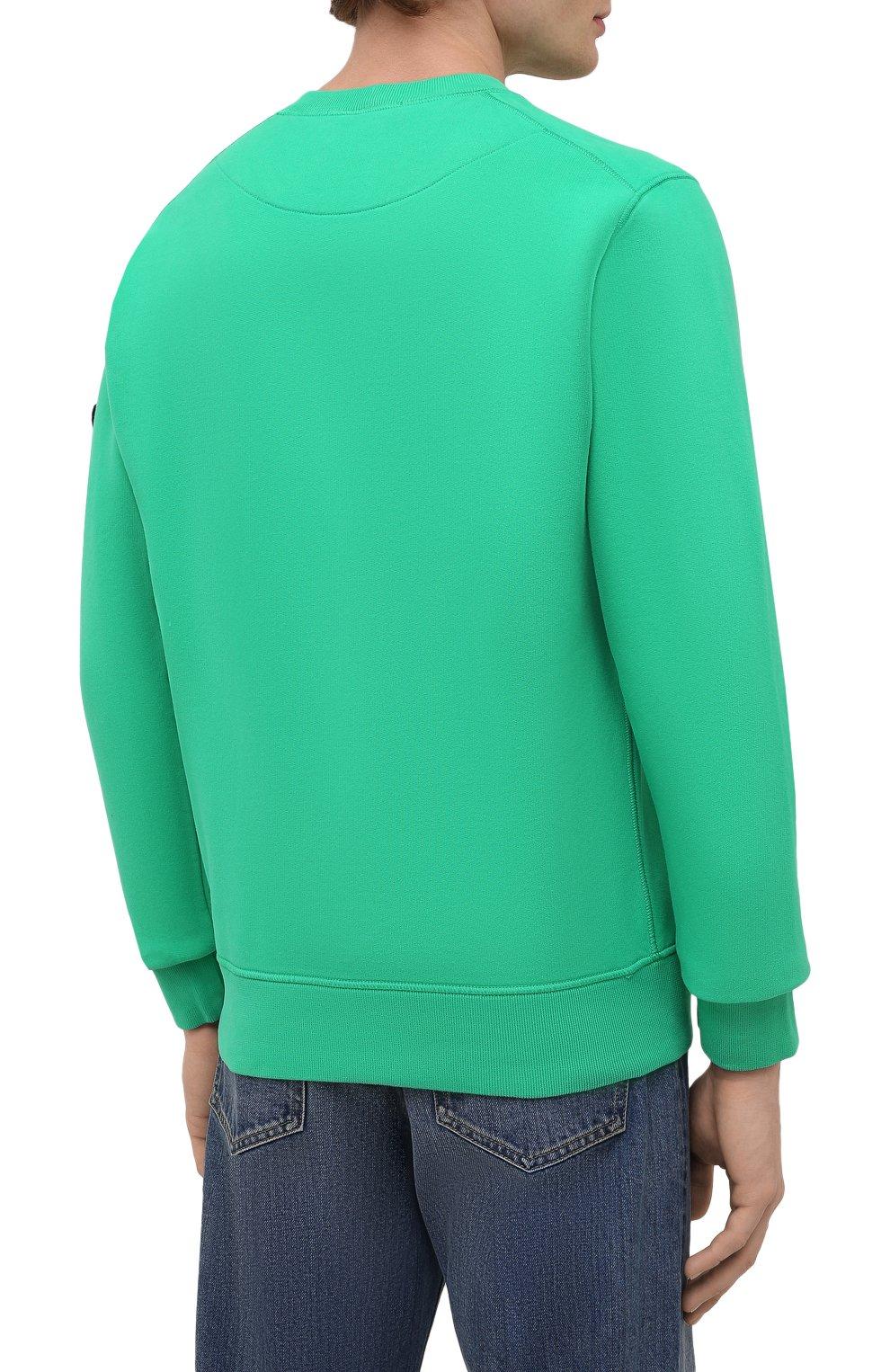 Мужской хлопковый свитшот STONE ISLAND зеленого цвета, арт. 751563020   Фото 4 (Рукава: Длинные; Принт: Без принта; Длина (для топов): Стандартные; Стили: Гранж; Мужское Кросс-КТ: свитшот-одежда; Материал внешний: Хлопок)