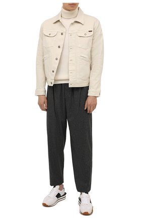 Мужской шерстяной свитер STONE ISLAND кремвого цвета, арт. 7515525C2 | Фото 2