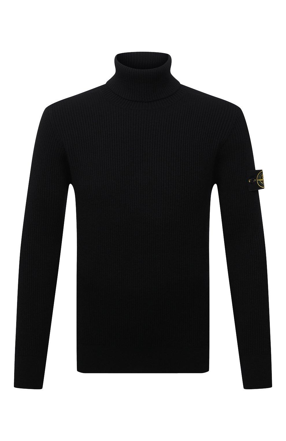 Мужской шерстяной свитер STONE ISLAND темно-синего цвета, арт. 7515525C2 | Фото 1 (Материал внешний: Шерсть; Рукава: Длинные; Принт: Без принта; Длина (для топов): Стандартные; Мужское Кросс-КТ: Свитер-одежда; Стили: Кэжуэл)