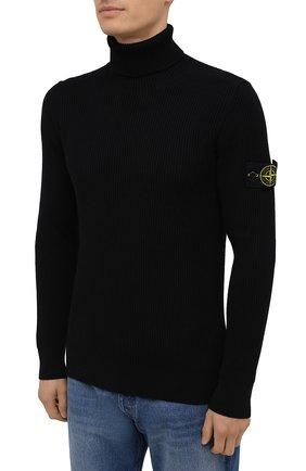 Мужской шерстяной свитер STONE ISLAND темно-синего цвета, арт. 7515525C2 | Фото 3 (Материал внешний: Шерсть; Рукава: Длинные; Принт: Без принта; Длина (для топов): Стандартные; Мужское Кросс-КТ: Свитер-одежда; Стили: Кэжуэл)