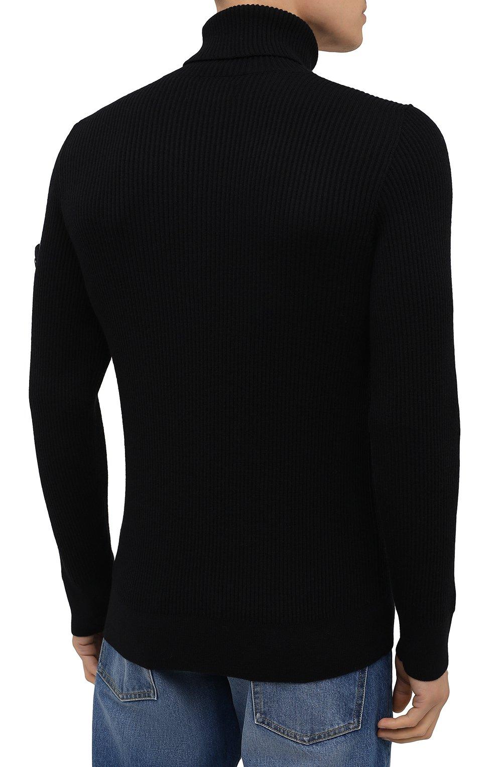 Мужской шерстяной свитер STONE ISLAND темно-синего цвета, арт. 7515525C2 | Фото 4 (Материал внешний: Шерсть; Рукава: Длинные; Принт: Без принта; Длина (для топов): Стандартные; Мужское Кросс-КТ: Свитер-одежда; Стили: Кэжуэл)