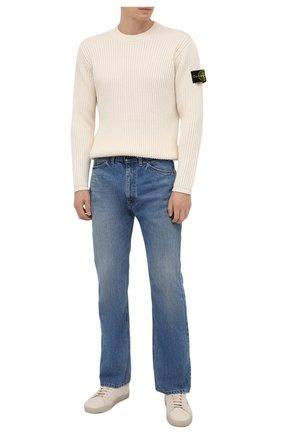 Мужской шерстяной свитер STONE ISLAND кремвого цвета, арт. 7515517C2 | Фото 2