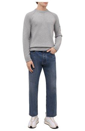 Мужской шерстяной свитер STONE ISLAND светло-серого цвета, арт. 7515514B7 | Фото 2