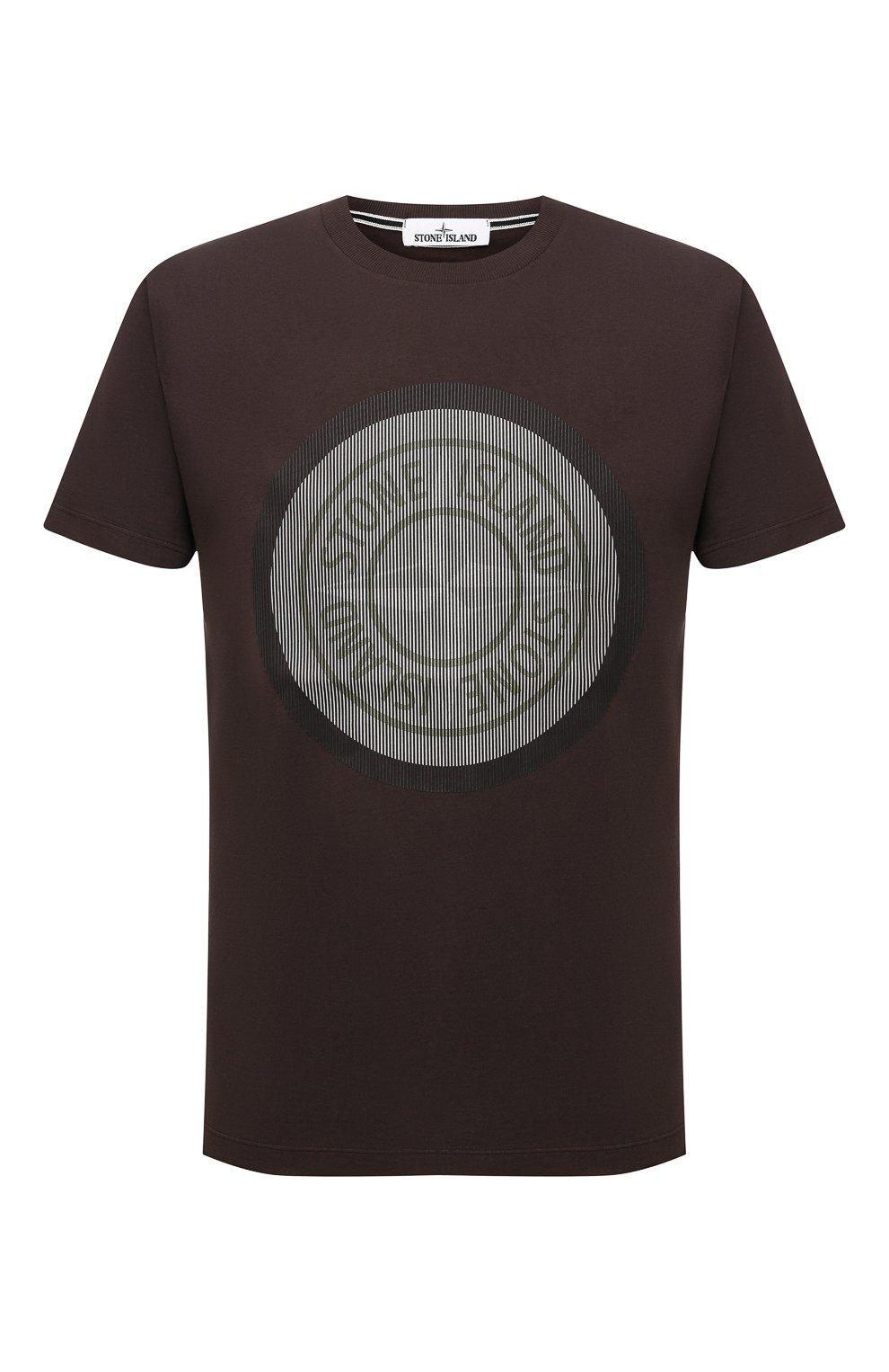 Мужская хлопковая футболка STONE ISLAND темно-коричневого цвета, арт. 75152NS89   Фото 1 (Рукава: Короткие; Длина (для топов): Стандартные; Принт: С принтом; Материал внешний: Хлопок; Стили: Кэжуэл)
