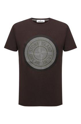 Мужская хлопковая футболка STONE ISLAND темно-коричневого цвета, арт. 75152NS89 | Фото 1