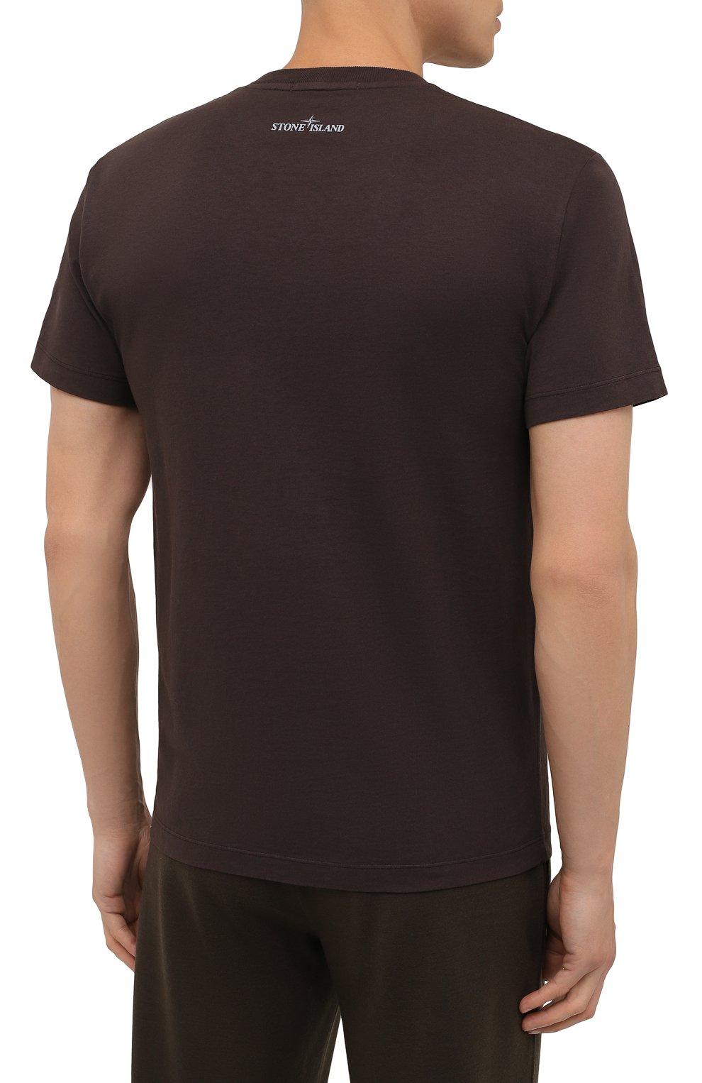 Мужская хлопковая футболка STONE ISLAND темно-коричневого цвета, арт. 75152NS89   Фото 4 (Рукава: Короткие; Длина (для топов): Стандартные; Принт: С принтом; Материал внешний: Хлопок; Стили: Кэжуэл)