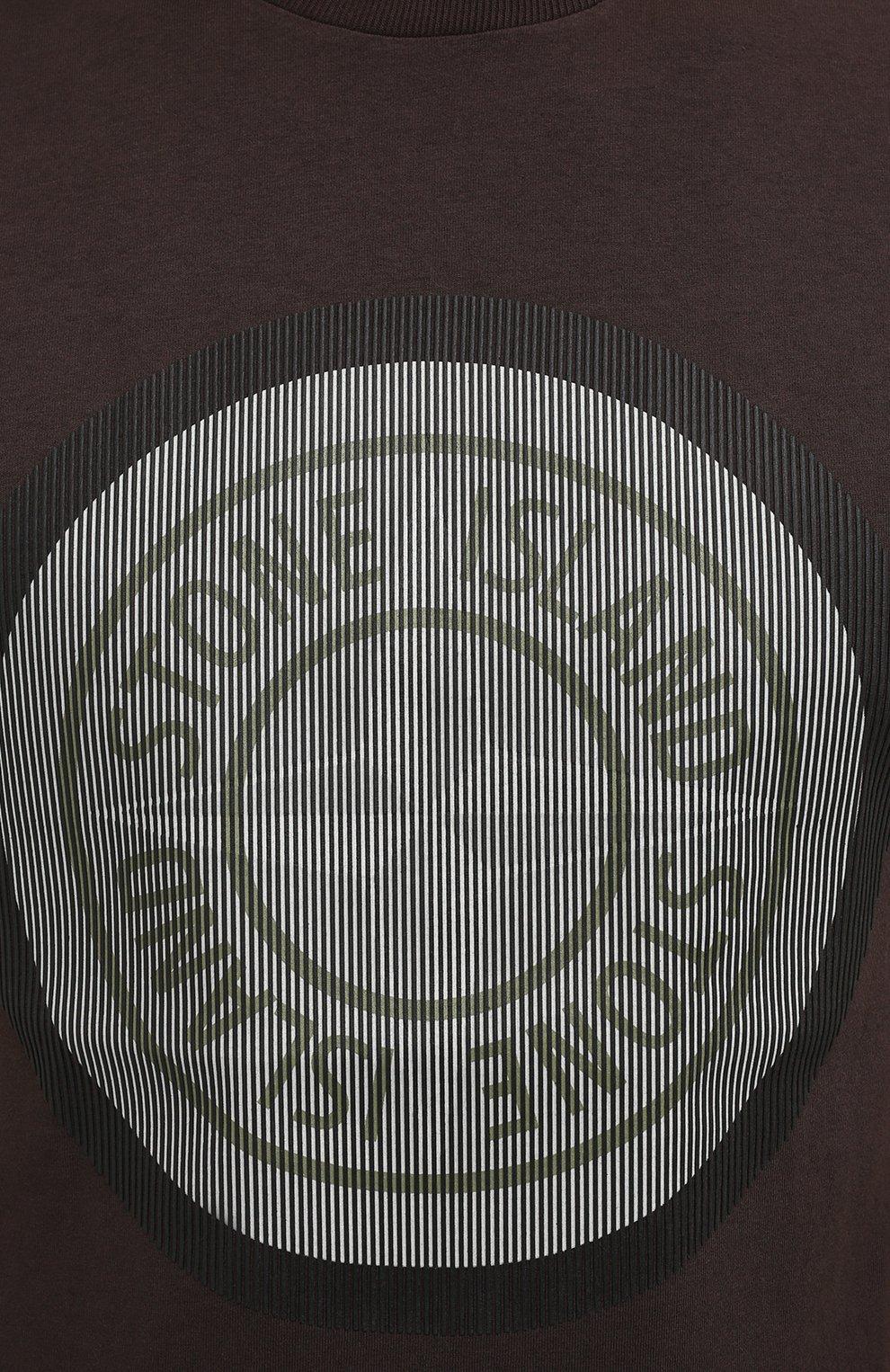Мужская хлопковая футболка STONE ISLAND темно-коричневого цвета, арт. 75152NS89   Фото 5 (Рукава: Короткие; Длина (для топов): Стандартные; Принт: С принтом; Материал внешний: Хлопок; Стили: Кэжуэл)
