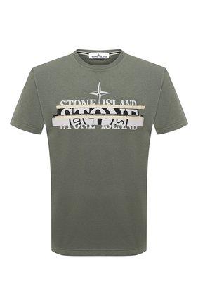 Мужская хлопковая футболка STONE ISLAND хаки цвета, арт. 75152NS82 | Фото 1