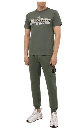 Мужская хлопковая футболка STONE ISLAND хаки цвета, арт. 75152NS82 | Фото 2