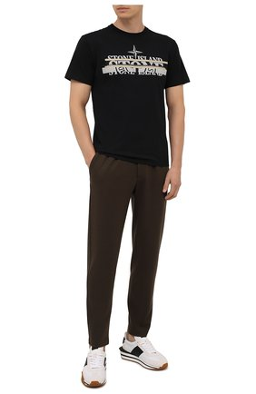 Мужская хлопковая футболка STONE ISLAND черного цвета, арт. 75152NS82 | Фото 2