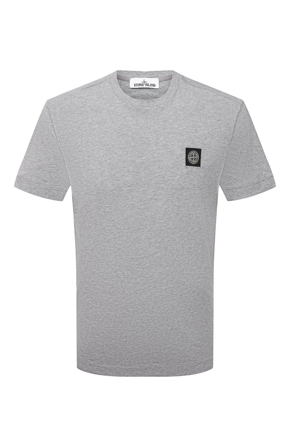 Мужская хлопковая футболка STONE ISLAND светло-серого цвета, арт. 751524113 | Фото 1 (Принт: Без принта; Рукава: Короткие; Длина (для топов): Стандартные; Материал внешний: Хлопок; Стили: Кэжуэл)
