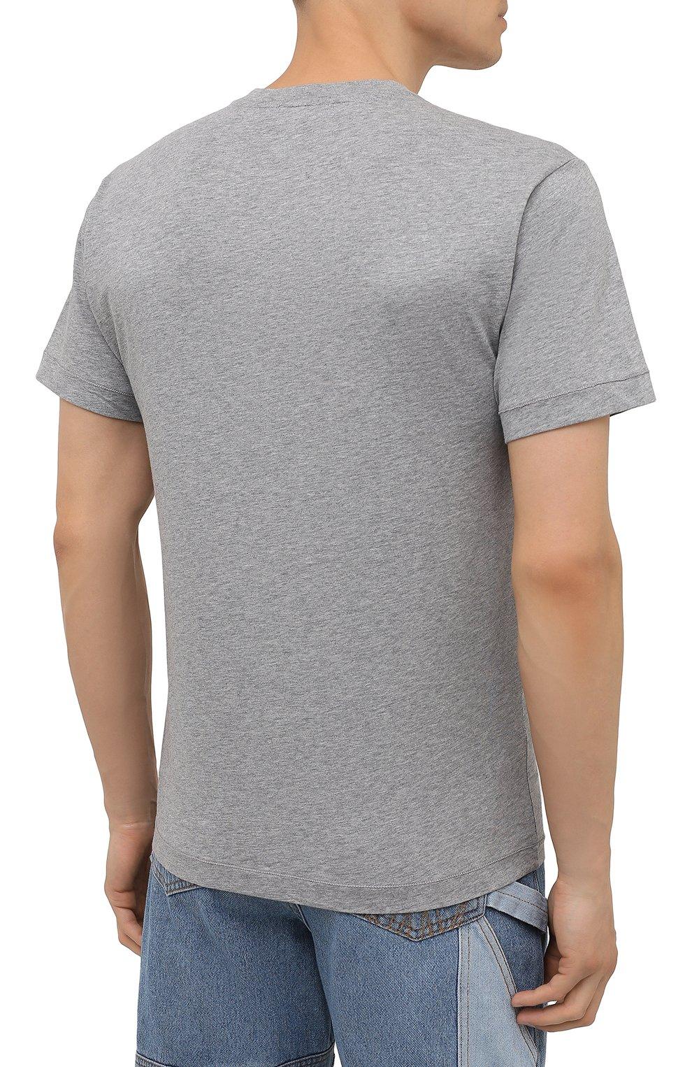 Мужская хлопковая футболка STONE ISLAND светло-серого цвета, арт. 751524113 | Фото 4 (Принт: Без принта; Рукава: Короткие; Длина (для топов): Стандартные; Материал внешний: Хлопок; Стили: Кэжуэл)
