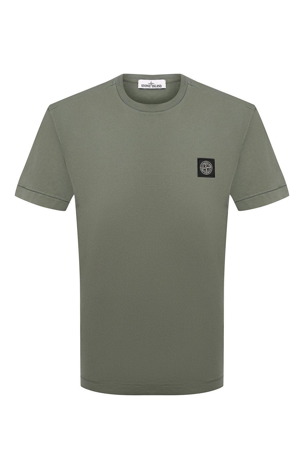 Мужская хлопковая футболка STONE ISLAND хаки цвета, арт. 751524113 | Фото 1 (Принт: Без принта; Рукава: Короткие; Длина (для топов): Стандартные; Стили: Милитари; Материал внешний: Хлопок)