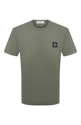Мужская хлопковая футболка STONE ISLAND хаки цвета, арт. 751524113 | Фото 1