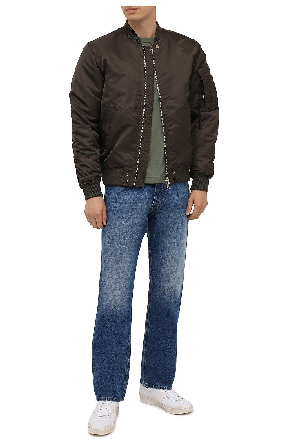 Мужская хлопковая футболка STONE ISLAND хаки цвета, арт. 751524113 | Фото 2 (Принт: Без принта; Рукава: Короткие; Длина (для топов): Стандартные; Стили: Милитари; Материал внешний: Хлопок)