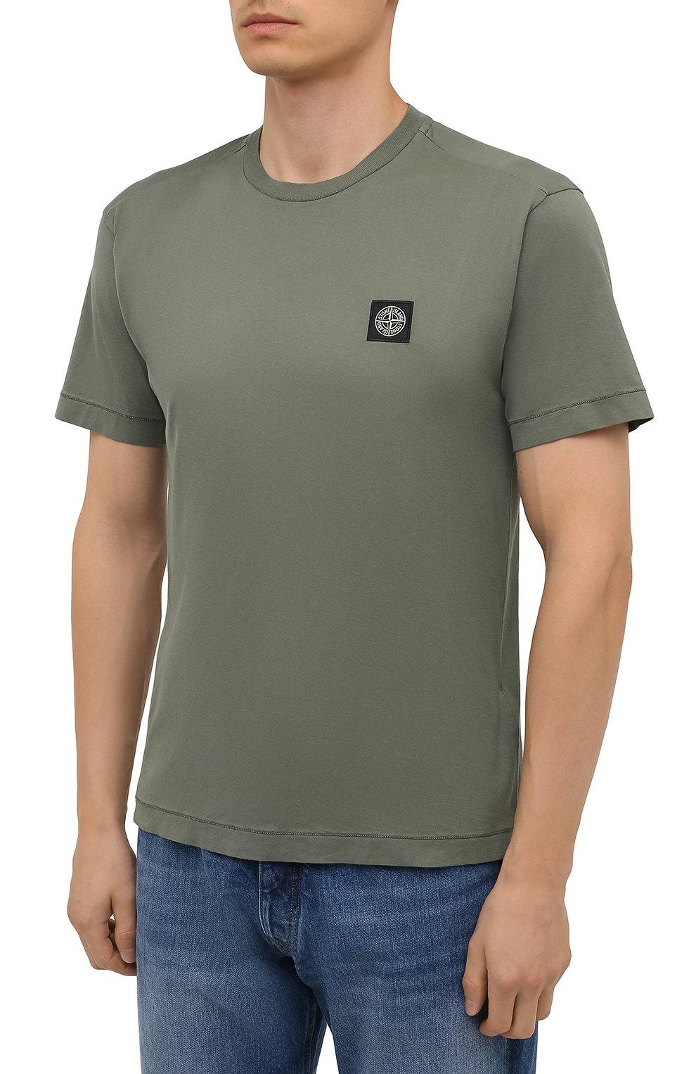 Мужская хлопковая футболка STONE ISLAND хаки цвета, арт. 751524113 | Фото 3 (Принт: Без принта; Рукава: Короткие; Длина (для топов): Стандартные; Стили: Милитари; Материал внешний: Хлопок)