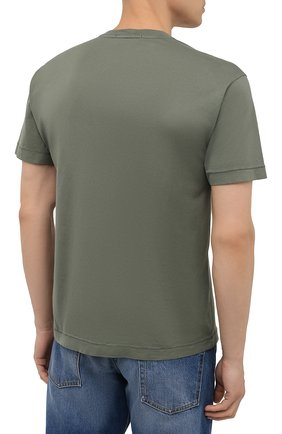 Мужская хлопковая футболка STONE ISLAND хаки цвета, арт. 751524113 | Фото 4 (Принт: Без принта; Рукава: Короткие; Длина (для топов): Стандартные; Стили: Милитари; Материал внешний: Хлопок)