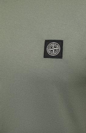 Мужская хлопковая футболка STONE ISLAND хаки цвета, арт. 751524113 | Фото 5 (Принт: Без принта; Рукава: Короткие; Длина (для топов): Стандартные; Стили: Милитари; Материал внешний: Хлопок)