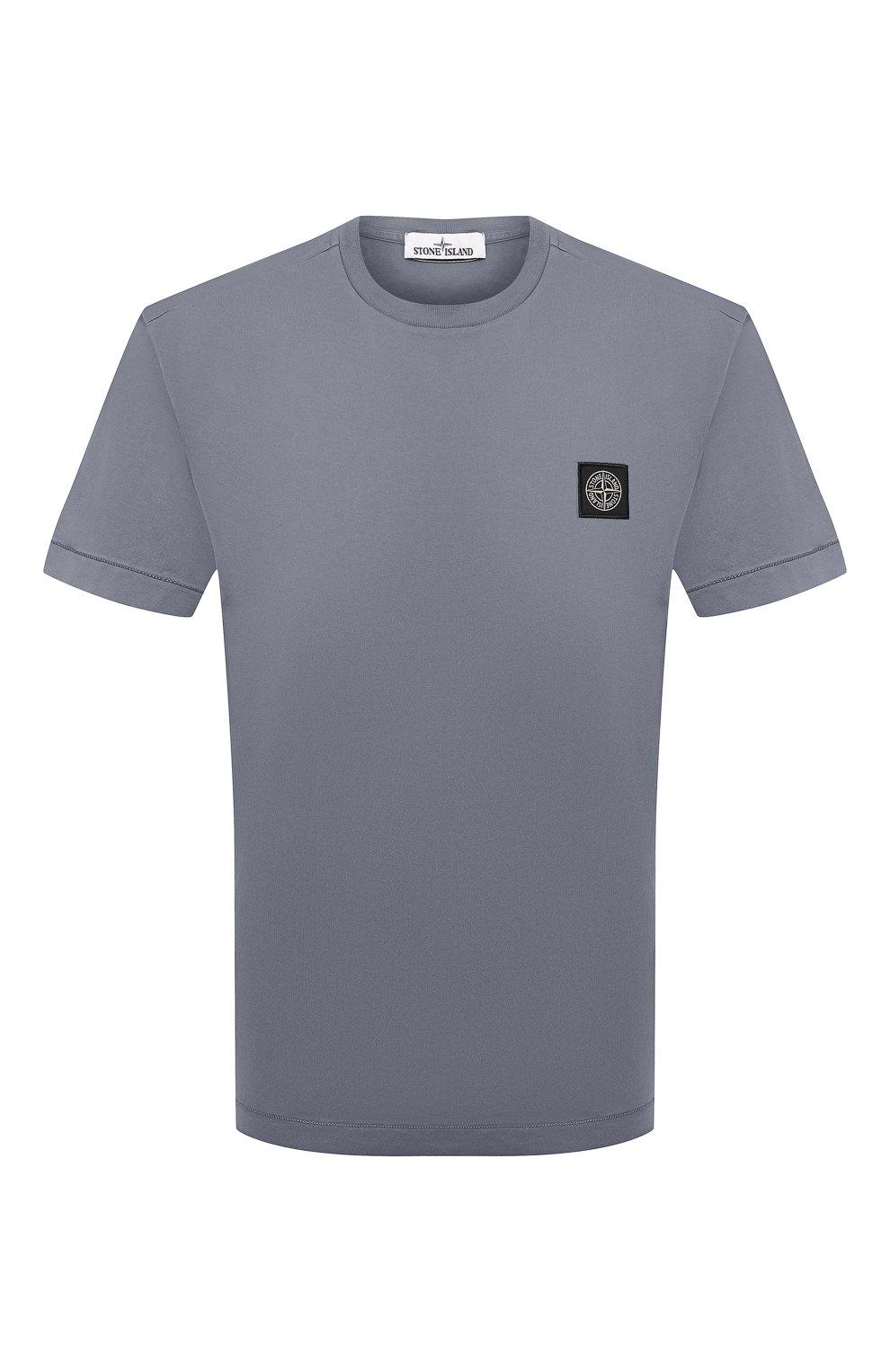 Мужская хлопковая футболка STONE ISLAND серого цвета, арт. 751524113   Фото 1 (Принт: Без принта; Рукава: Короткие; Длина (для топов): Стандартные; Материал внешний: Хлопок; Стили: Кэжуэл)