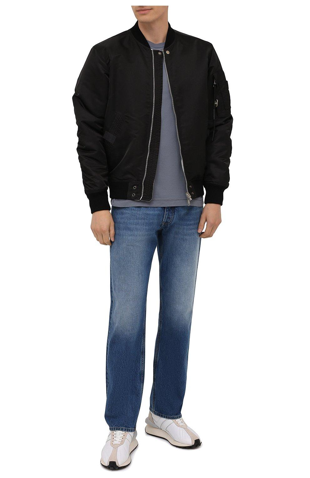 Мужская хлопковая футболка STONE ISLAND серого цвета, арт. 751524113   Фото 2 (Принт: Без принта; Рукава: Короткие; Длина (для топов): Стандартные; Материал внешний: Хлопок; Стили: Кэжуэл)