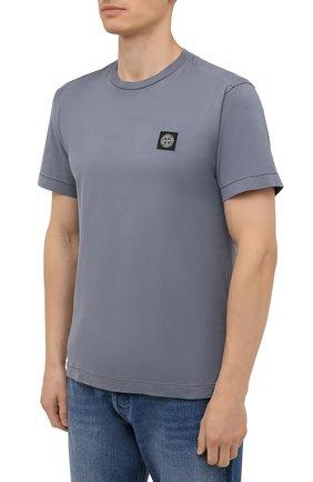 Мужская хлопковая футболка STONE ISLAND серого цвета, арт. 751524113   Фото 3 (Принт: Без принта; Рукава: Короткие; Длина (для топов): Стандартные; Материал внешний: Хлопок; Стили: Кэжуэл)