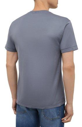 Мужская хлопковая футболка STONE ISLAND серого цвета, арт. 751524113   Фото 4 (Принт: Без принта; Рукава: Короткие; Длина (для топов): Стандартные; Материал внешний: Хлопок; Стили: Кэжуэл)
