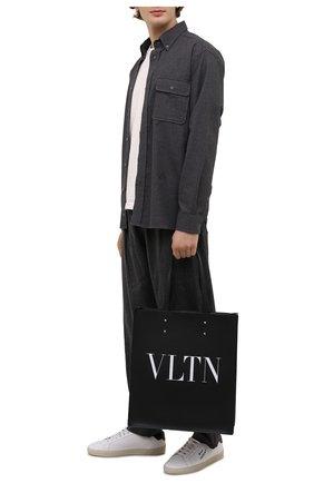 Мужская кожаная сумка-шопер vltn VALENTINO черного цвета, арт. WY2B0731/WJW   Фото 2