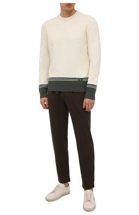 Мужские шерстяные брюки HARRIS WHARF LONDON хаки цвета, арт. C7015MYM | Фото 2 (Материал внешний: Шерсть; Случай: Повседневный; Мужское Кросс-КТ: Брюки-трикотаж; Стили: Спорт-шик; Длина (брюки, джинсы): Стандартные)