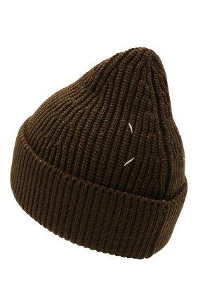 Мужская шапка из хлопка и шерсти MAISON MARGIELA хаки цвета, арт. S50TC0051/S17791 | Фото 2