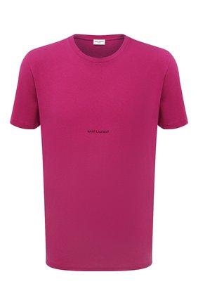 Мужская хлопковая футболка SAINT LAURENT фуксия цвета, арт. 666167/YB2YD | Фото 1