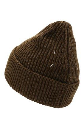 Женская шапка из хлопка и шерсти MAISON MARGIELA хаки цвета, арт. S50TC0051/S17791   Фото 2