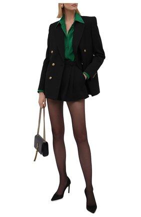 Женские шерстяные шорты SAINT LAURENT черного цвета, арт. 663805/Y7C25 | Фото 2 (Материал внешний: Шерсть; Стили: Гламурный; Женское Кросс-КТ: Шорты-одежда; Длина Ж (юбки, платья, шорты): Мини)