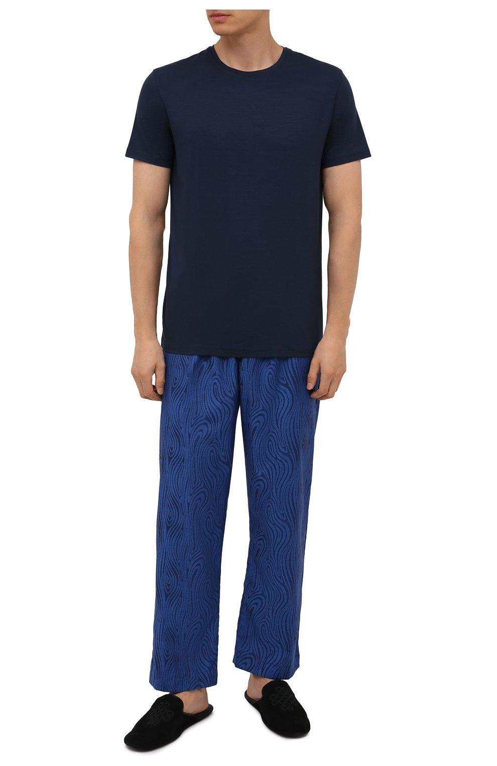 Мужские хлопковые домашние брюки DEREK ROSE синего цвета, арт. 3564-PARI020 | Фото 2 (Длина (брюки, джинсы): Стандартные; Кросс-КТ: домашняя одежда; Мужское Кросс-КТ: Брюки-белье; Материал внешний: Хлопок)
