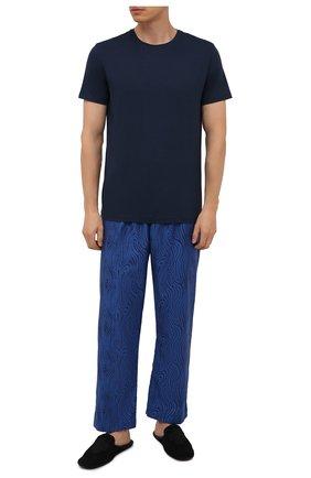 Мужские хлопковые домашние брюки DEREK ROSE синего цвета, арт. 3564-PARI020 | Фото 2