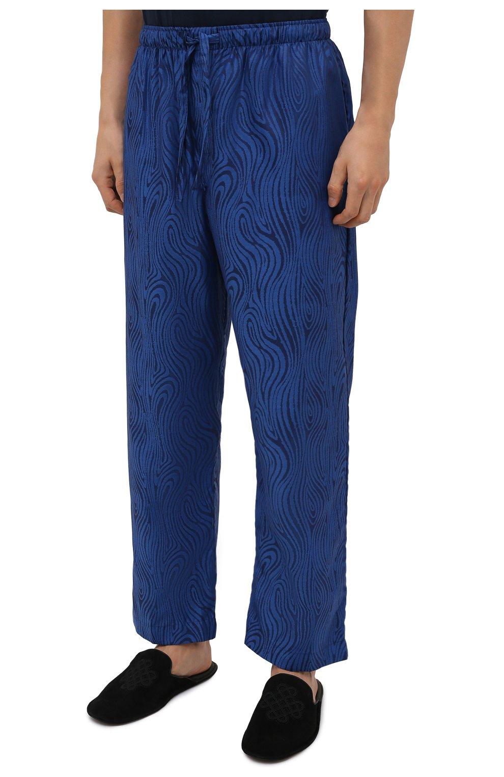 Мужские хлопковые домашние брюки DEREK ROSE синего цвета, арт. 3564-PARI020 | Фото 3 (Длина (брюки, джинсы): Стандартные; Кросс-КТ: домашняя одежда; Мужское Кросс-КТ: Брюки-белье; Материал внешний: Хлопок)