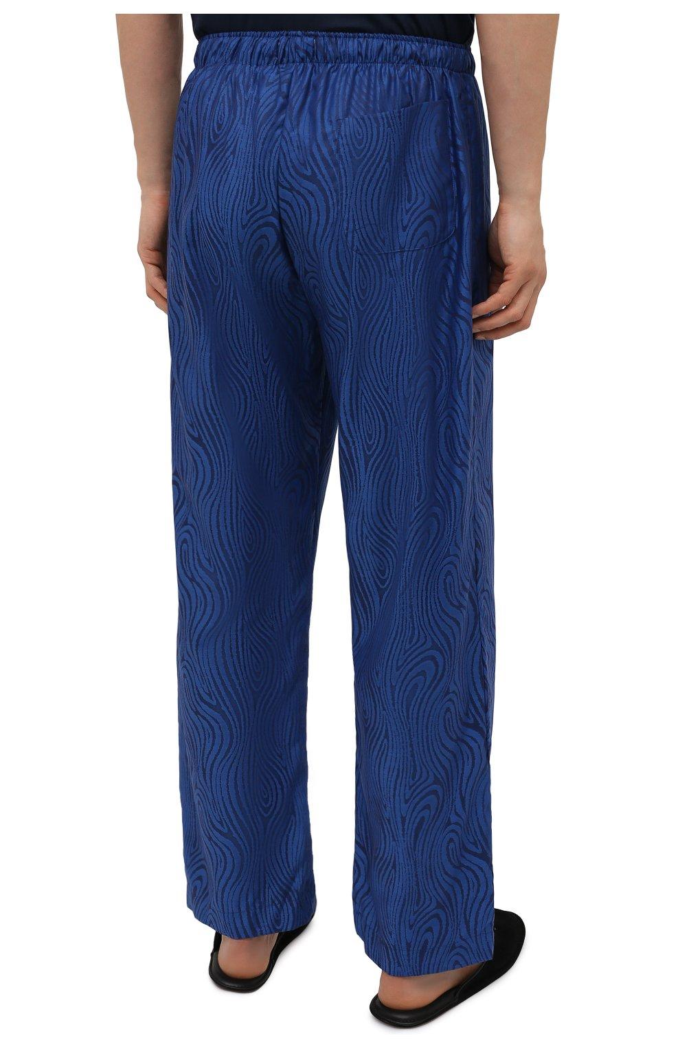 Мужские хлопковые домашние брюки DEREK ROSE синего цвета, арт. 3564-PARI020 | Фото 4 (Длина (брюки, джинсы): Стандартные; Кросс-КТ: домашняя одежда; Мужское Кросс-КТ: Брюки-белье; Материал внешний: Хлопок)