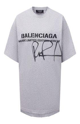 Женская хлопковая футболка BALENCIAGA серого цвета, арт. 676589/TLV57 | Фото 1