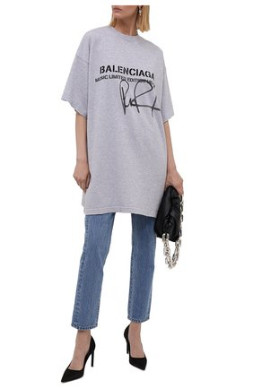 Женская хлопковая футболка BALENCIAGA серого цвета, арт. 676589/TLV57 | Фото 2