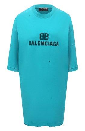 Женская хлопковая футболка BALENCIAGA бирюзового цвета, арт. 651795/TKVF5 | Фото 1 (Материал внешний: Хлопок; Длина (для топов): Удлиненные; Стили: Спорт-шик; Принт: С принтом; Рукава: Короткие; Женское Кросс-КТ: Футболка-одежда)