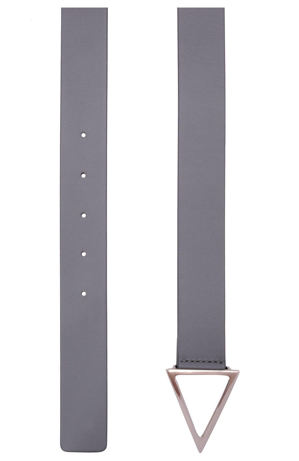 Мужской кожаный ремень BOTTEGA VENETA серого цвета, арт. 657154/VMAU3   Фото 3 (Случай: Повседневный)