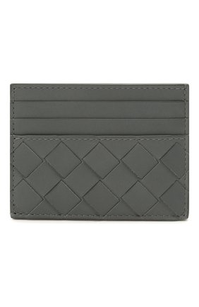 Мужской кожаный футляр для кредитных карт BOTTEGA VENETA серого цвета, арт. 635057/VCPQ3 | Фото 1