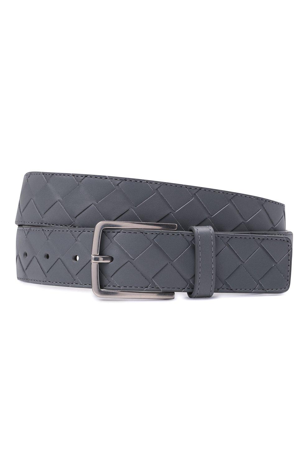 Мужской кожаный ремень BOTTEGA VENETA серого цвета, арт. 609182/VCPQ3 | Фото 1 (Случай: Повседневный)