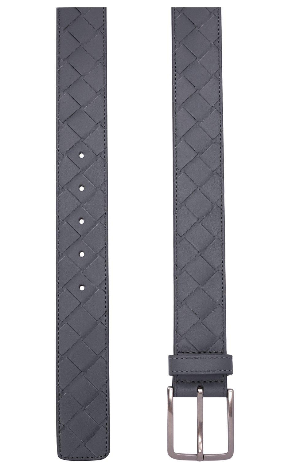 Мужской кожаный ремень BOTTEGA VENETA серого цвета, арт. 609182/VCPQ3 | Фото 3 (Случай: Повседневный)