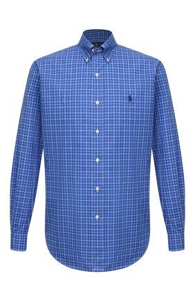 Мужская хлопковая рубашка POLO RALPH LAUREN синего цвета, арт. 710767399/4118   Фото 1