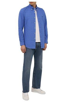 Мужская хлопковая рубашка POLO RALPH LAUREN синего цвета, арт. 710767399/4118   Фото 2