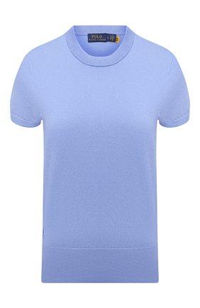 Женский хлопковый пуловер POLO RALPH LAUREN голубого цвета, арт. 211784760 | Фото 1