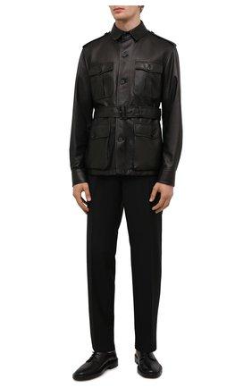 Мужская кожаная куртка RALPH LAUREN черного цвета, арт. 798843748 | Фото 2 (Рукава: Длинные; Материал подклада: Хлопок; Длина (верхняя одежда): Короткие; Кросс-КТ: Куртка; Мужское Кросс-КТ: Кожа и замша; Стили: Кэжуэл)
