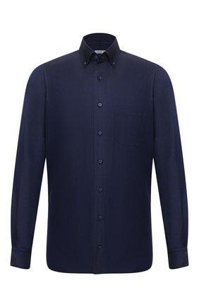 Мужская хлопковая сорочка ZILLI темно-синего цвета, арт. MFW-7026-0175/ZS248 | Фото 1 (Материал внешний: Хлопок; Рукава: Длинные; Принт: Однотонные; Воротник: Button down; Случай: Формальный; Стили: Классический; Рубашки М: Regular Fit; Манжеты: На пуговицах; Длина (для топов): Стандартные)